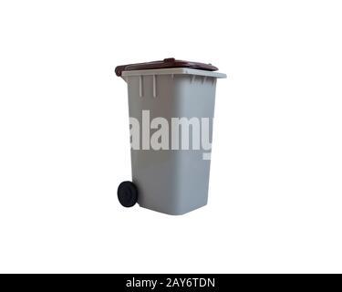 Gray and brown, organic waste trash bin. White background. - Stock Photo