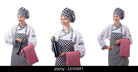 Woman chef in collages on white - Stock Photo