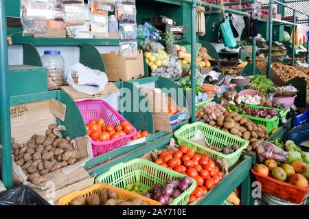 Display of fruits and vegetables - Stock Photo