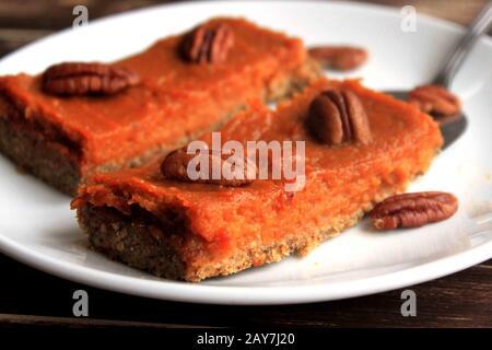 Homemade cake. Sweet Almond Cake. Vegetable cake. Delicate, creamy sweets. Healthy sweet potato pie. - Stock Photo