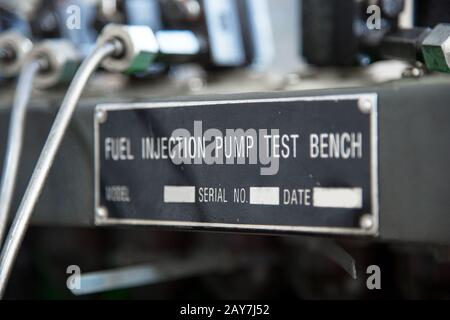 close-up high pressure diesel fuel pump test bench - Stock Photo