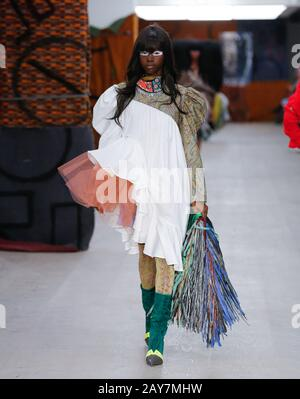 London, UK. 14th, Feb, 2020, Matty Bovan catwalk show London Fashion Week  Autumn Winter 2020, Fall Winter 2020 at British Fashion Council Show Space, Strand 180.  Credit: catwalking/runways/Alamy Live News - Stock Photo