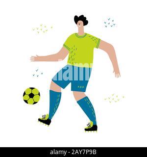 Soccer Player Flat Vector Illustration on white background - Stock Photo