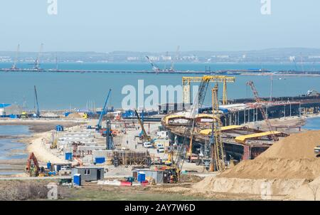 Taman, Russia - 15 April 2017: View of the construction of a transport crossing through the Kerch strait from the tamani side, w - Stock Photo