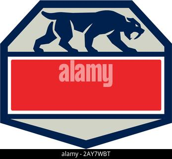 Saber Tooth Tiger Cat Hexagon Retro - Stock Photo