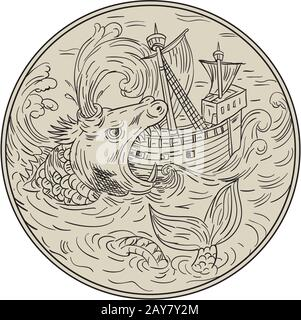 Ancient Sea Monster Attacking Sailing Ship Circle Drawing - Stock Photo