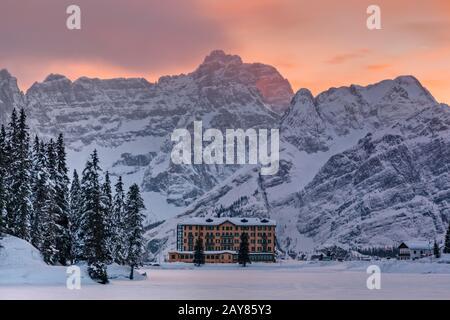 Lake Misurina, Misurina, Cortina d'Ampezzo, Belluno, Veneto, Dolomites, Italy, Europe Stock Photo