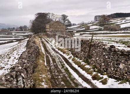 Snow-covered Winter Yorkshire Dales landscape near Hawes in Wensleydale, with dry stone walls and traditional field barns. - Stock Photo