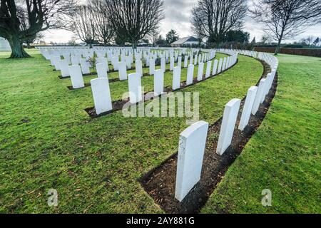 British and Commonwealth War Cemetery in Bayeux,France - Stock Photo