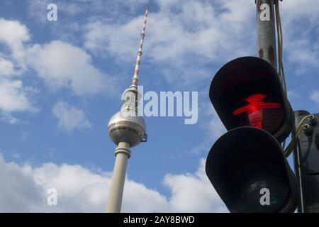 Traffic light in Berlin with Alex - Stock Photo