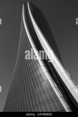 The skyscraper 'Lo Storto' (2019, 177 m, 44 floors), also called Hadid Tower, in the new district of Citylife in Milan, Italy - Stock Photo