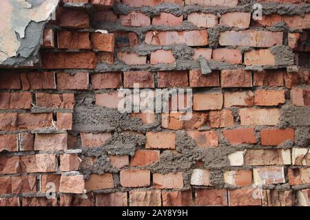 Grunge dirty old brick stone wall exterior weathered textured pattern background with copy space - Stock Photo