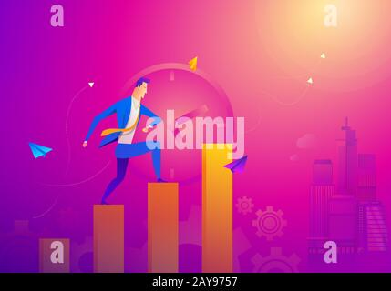Business Concept As A Businessman Is Running On Growth Line Graph. He Is Enjoying The New Growth Of Opportunity With Full Motiva - Stock Photo