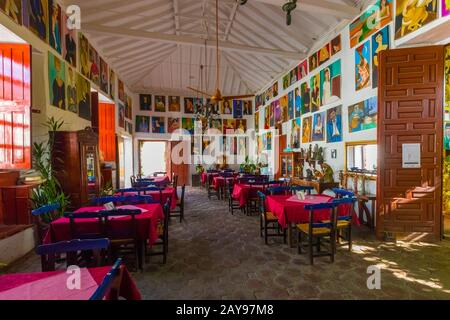 typical historic restaurant in the city of Santa Fe of Antioquia Colombia - Stock Photo