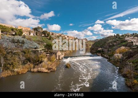 Toledo cityscape, old medieval city over Tajo river, Spain. Stock Photo