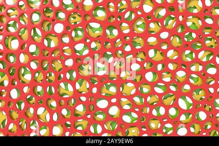 Red, green and yellow layers. Abstract organic background. 3D