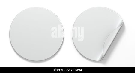 Blank white circle stickers with curved corner 3D - Stock Photo