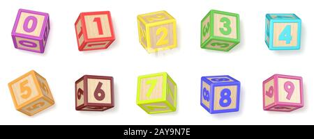 Numbers wooden alphabet blocks font rotated 3D
