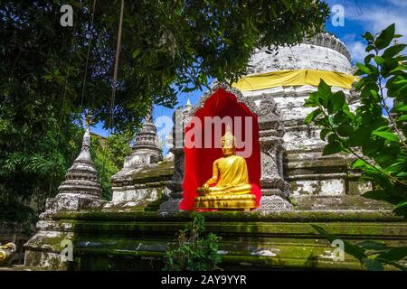 Wat Buppharam temple pagoda, Chiang Mai, Thailand - Stock Photo