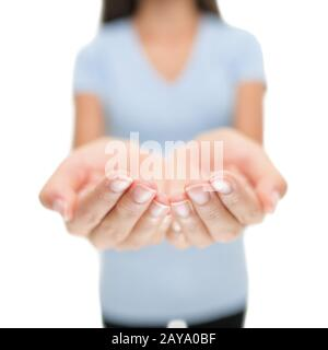 Empty open palms hands woman showing holding blank product object, copyspace. Cupped hands. Isolated on white background. - Stock Photo