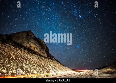 Long exposure shot at sunset in red rock canyon near las vegas - Stock Photo