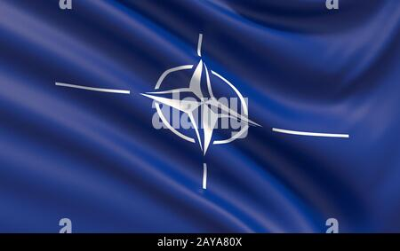 The flag of the North Atlantic Treaty Organization NATO. 3D illustration. - Stock Photo