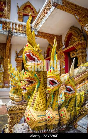 Statues in Wat Buppharam temple, Chiang Mai, Thailand - Stock Photo