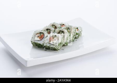Japanese food restaurant, sushi maki gunkan roll plate or platter set. Sushi set and composition - Stock Photo