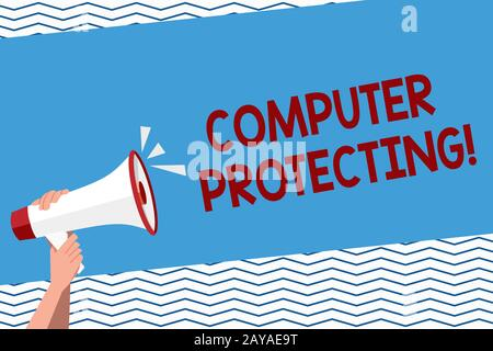 Conceptual hand writing showing Computer Protecting. Business photo text protecting computer against unauthorized intrusions Hum - Stock Photo