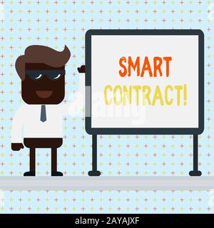 Text sign showing Smart Contract. Conceptual photo the computer protocol running on top of a block chain. - Stock Photo