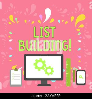 Word writing text List Building. Business concept for database of showing you can contact with your marketing message Business C - Stock Photo