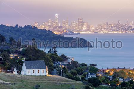 Scenic views of Old St Hillary's Church, Angel Island, Alcatraz Prison, San Francisco Bay and San Fr - Stock Photo