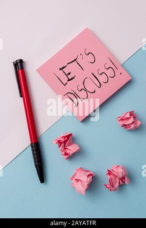 Writing note showing Let S Discuss. Business photo showcasing asking someone to talk about something with demonstrating or showi - Stock Photo