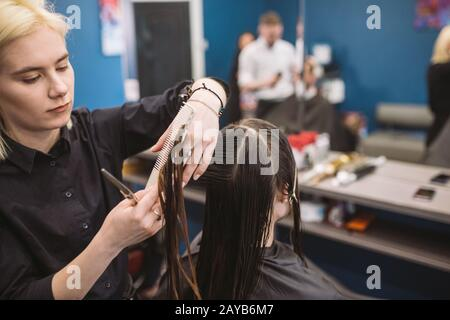 hairdresser holding scissors and comb and makes haircut woman client. Young beautiful woman hair cut in beauty salon. Process of