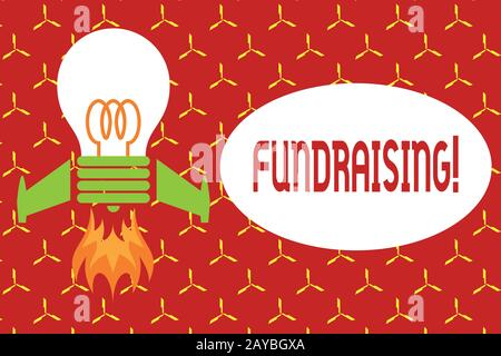 Conceptual hand writing showing Fundraising. Business photo text seeking to generate financial support for charity or cause Top - Stock Photo