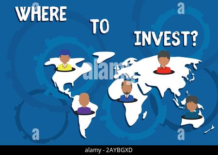 Writing note showing Where To Invest question. Business photo showcasing asking about actions or process of making more money Co - Stock Photo