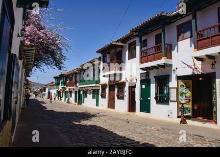 Cobblestone streets in charming colonial Villa de Leyva, Boyaca, Colombia