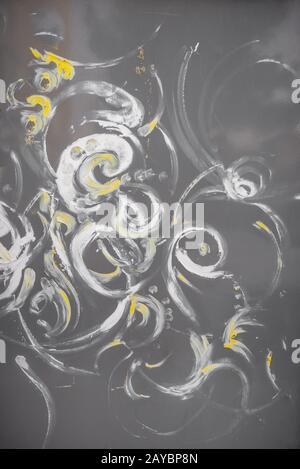 Abstract brush strokes on metal panel - Stock Photo