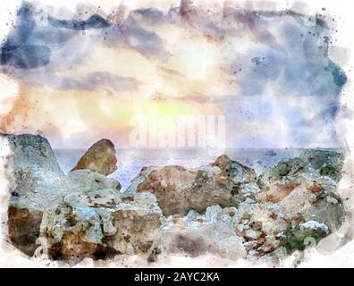 watercolor painting of a glowing golden sunset surrounded by clouds over a calm Mediterranean sea with a foreground of coastal r - Stock Photo