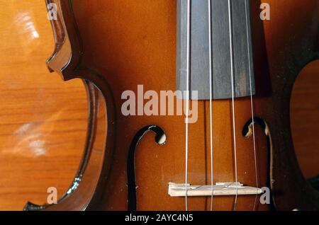 Closeup view of violin