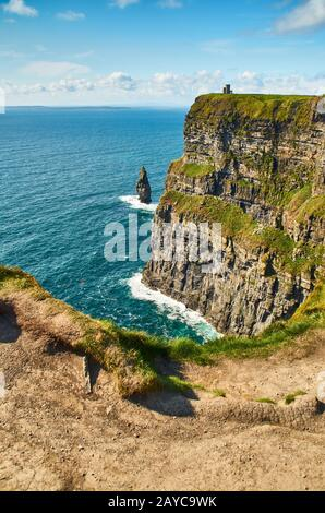 View at O'Brien's Tower at Cliffs of Moher - Stock Photo