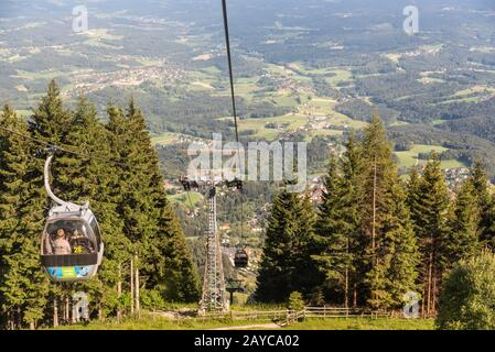 View from Gondola lift in Schockl Graz, on the way up - Stock Photo