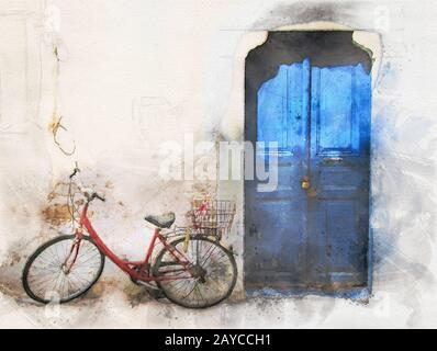 watercolor image of an old red bike outside a greek house with whitewashed walls and a blue painted door in bright sunlight - Stock Photo