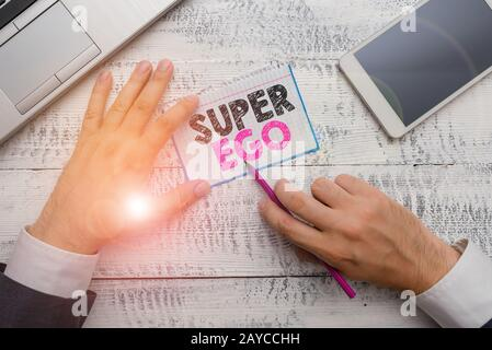 Writing note showing Super Ego. Business photo showcasing The I or self of any demonstrating that is empowering his whole soul. - Stock Photo