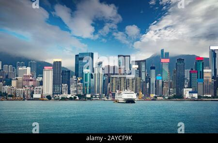 Hong Kong city skyline - Stock Photo