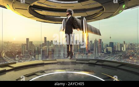 Futuristic interior design empty space room with Businessman wear a rocket suit to lift