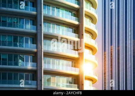 Urban abstract close up view of steel and glass windows facade office building . - Stock Photo