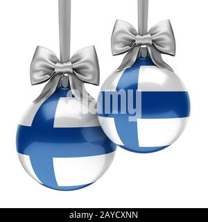 3D rendering Christmas ball with the flag of Finland - Stock Photo