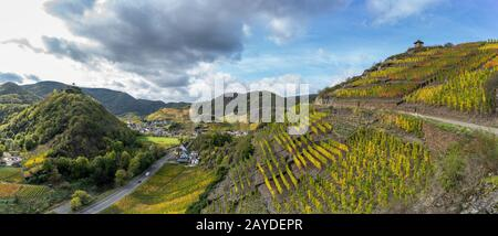 The golden autumn on the red wine trail in the Ahr valley