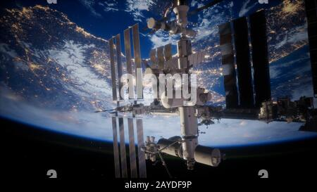 Earth and outer space station iss - Stock Photo